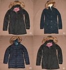 Hollister Womens Parka Jacket Coat Faux Fur Hood Long Belted by Abercrombie NWT!