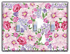 Floral Mixed Flowers Pink Purple LIGHT SWITCH PLATE Cover Wall Decor