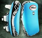TWINS SPECIAL KICKING PADS CURVED KPL-12 BLUE M L FULL LEATHER MUAY THAI  MMA K1