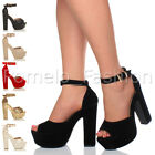 WOMENS LADIES HIGH HEEL CHUNKY PLATFORM PEEP TOE PARTY EVENING SANDAL SHOES SIZE