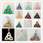 LXJ-32 Carved Mixed Gemstone Triangle Pendant Bead 37x36x6mm