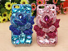 For Mobile Phone Sparkly Crystals Rhinestones Bling Luxury New 3D Rose Hard Case