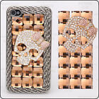 For Mobile Phone Luxury Champagne Crystals Cute Bling Skull Bow Metal Chain Case