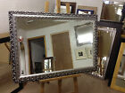 "NEW LARGE 3"" ORNATE SILVER SHABBY CHIC STYLE FRAMED OVERMANTLE WALL MIRROR"