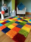 MULTI COLOURED FUNKY BRIGHT MODERN THICK SOFT HEAVY QUALITY SHAGGY AREA RUG MAT