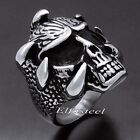Men's Boy's Dragon Skull Claw Solid 316L Stainless Steel Biker Ring New