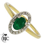 BJC® 9ct Yellow gold Emerald & Diamond Cluster size N engagement dress ring R40