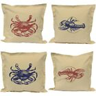 "4 Nautical Cushions - Shellfish Blue/Red 40cm 16"" -Covers Inserts Inners Seaside"