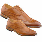 Mens Boys New Tan Brown Leather Lined Lace Up Smart Formal Brogue Shoes 3 -12