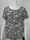 MICHAEL KORS Women's Short-Sleeve Brown Printed Top Blouse M L NEW  WITH TAGS