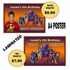 JUSTICE LEAGUE SUPERHEROES A4 BIRTHDAY POSTER - PARTY ITEM