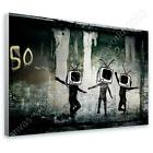 COTTON CANVAS  Banksy Tv Heads art poster photo print photos decor GICLEE