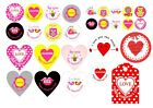 Assorted Valentines stickers - circular or heart-shaped