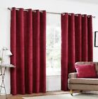 Rapport Yale Claret Heavyweight Chenille Eyelet Curtains