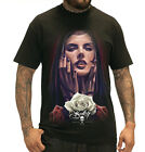 Sullen Pin Up Punk Street Gothic Devil Rockabilly Tattoo Skulls Mens Tee VISION