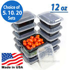 12oz Meal Prep Food Containers with Lids, Reusable Microwavable Plastic BPA free