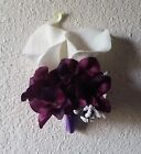 Ivory Real Touch Calla Lily Eggplant Hydrangea Corsage or Boutonniere