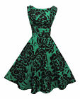 New Rosa Rosa  1940's 50's style Green Black Floral Rockabilly Party Prom Dress
