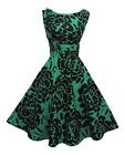 New Rosa Rosa  1940?s 50's style Green Black Floral Rockabilly Party Prom Dress