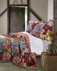 3 Pc Lodge Quilt Coverlet King Qu/Full Twin Reversible Moose Elk Print Red Plaid