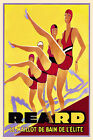 Vintage French Art Deco Reard Swimsuit Poster 1930s Retro Print Picture Print