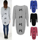 New Ladies Back Bows Diamante Batwing Top Womens Loose Jumper Knitted Hi Low Hem