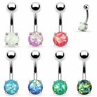 Opal Glitter Belly Button Ring Navel Bar Surgical Steel Non-Dangle 14g
