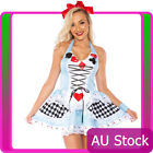 Ladies Alice in Wonderland Costume Fancy Dress Halloween Hens Party Full Outfit