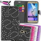 Sparkle Diamond Wallet Flip Case Cover for Samsung Galaxy S6 G920 + Mini Stylus