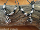 Handmade Waxed Cord Necklace with Metal Beads and Heart Pendant