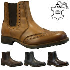 MENS LEATHER SLIP ON CHELSEA DEALER BROGUE GUSSET ANKLE FORMAL WORK BOOTS SIZE