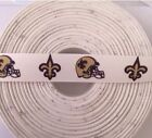 "2 / 5 / 10 Yards 7/8"" Grosgrain White w/ New Orleans Saints Football Ribbon"