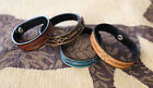 Tooled Leather Bracelet Snap Casual Dressy Turqoise Brown Black Narrow Fashion