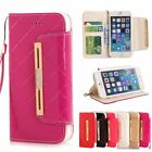 Bling Glossy Leather Folio Clutch Purse Phone Case For iPhone 5 5S 6 6S Plus