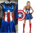 Captain America Avengers Super Hero Adult Women Fancy Dress Halloween Outfit