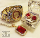 MEN HIP HOP ICED OUT GOLD RICK ROSS WATCH & RUBY NECKLACE & EARRINGS COMBO SET  image