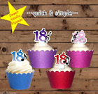18th musical birthday blue pink purple or red edible wafer cupcake cake toppers