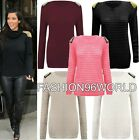 Ladies Womens Studded Spikes Shoulder Girls Cable Knitted Jumper Sweater Top