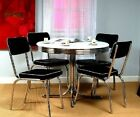 50 s Dining Set Retro Vintage Table 4 Chairs Chrome Kitchen Dinette Diner Metal