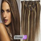New Fashion 7Pcs 60g Silk Straight Clips in 100% Human Hair Extension #4/613