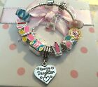 Personalised girls multicol big sister daughter niece choose charm barcelet gift