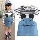 Casual Kids Baby Girl Long Sleeve Striped Dress Summer Short Dress Clothes 2-6Y