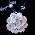 Beautiful Colorful Ceramic Flowers Pendant String Adjustable Necklace