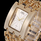 Luxury Women's Lady Crystal Gold Stainless Steel Band Analog Quartz Wrist Watch