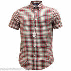 BEN SHERMAN Men's S/S Check Shirt Cotton B/D Collar Off White/Red Size: Small