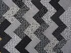 COTTON FABRIC PATCHWORK SQUARES PIECES CHARM PACK, 4 AND 5 INCH ~ BLACK / WHITE