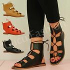 NEW WOMENS FLATS LADIES GLADIATOR LACE UP SHOES CUT OUT SUMMER SANDALS SIZE UK