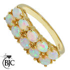 BJC® 9ct Yellow Gold Half Eternity Opal 10 Stone size O dress Cluster ring R183