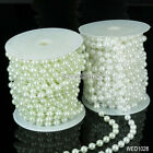 8mm 5MX1 Strand Wedding White Ivory Glass Pearl Round Bead Bride Jewellery Craft
