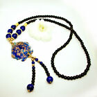Blue Fish / Golden Flower Glass Art Pendant Multiple Beads Long Necklace